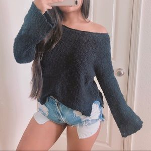 Adorable cozy knit bell sleeve sweater